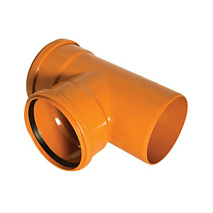 FloPlast D190 Underground Drainage Tee - Terracotta 110mm