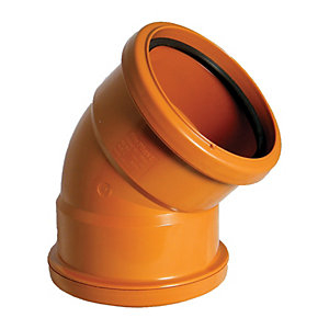 FloPlast D563 Underground Drainage 45 Deg Double Socket Bend - Terracotta 110mm