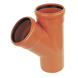 FloPlast D210 Underground Drainage 45 Deg Equal Tee - Terracotta 110mm