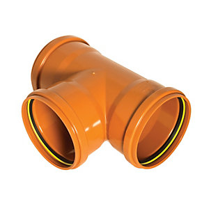 FloPlast D191 Underground Drainage 87.5  Deg Tee - Terracotta 110mm