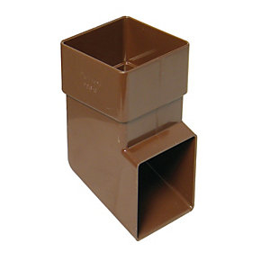 FloPlast RBS3BR Square Line Downpipe Shoe - Brown 65mm