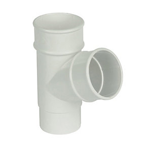 FloPlast RY1W Round Line Downpipe 67.5 Deg Branch - White 68mm
