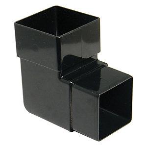 FloPlast RBS1B Square Downpipe Offset Bend - Black 92.5 Deg x 65mm