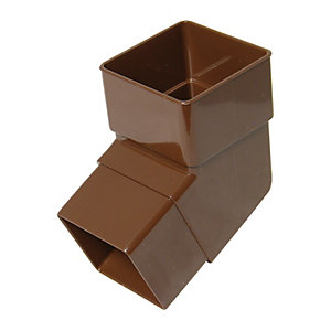 FloPlast RBS2BR Square Line Downpipe Offset Bend - Brown 112.5 Deg x 65mm