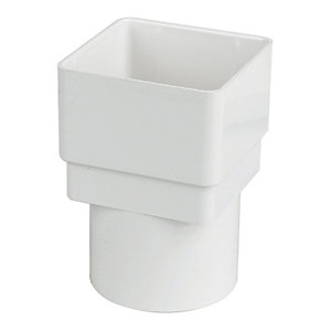 FloPlast RDS2W Square to Round Downpipe Adaptor - White