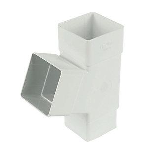 FloPlast RYS1W Square Downpipe 67.5 Deg Branch - White 65mm