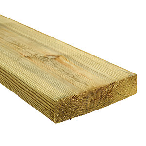 Wickes Treated Kiln Dried C24 Timber - 45 x 195 x 3600 mm