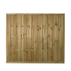Forest Garden Pressure Treated Vertical Hit & Miss Fence Panel - 6 x 5ft Pack of 3