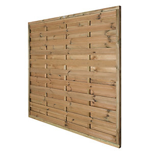 Forest Garden Pressure Treated Horizontal Hit & Miss Fence Panel - 6 x 6ft Pack of 5