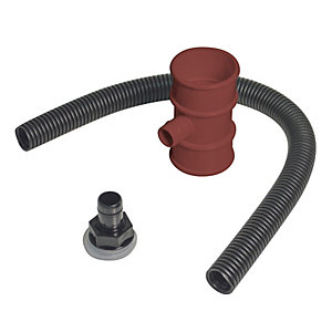 FloPlast RVM1BR Miniflo Downpipe Rainwater Diverter - Brown 50mm