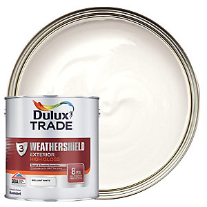 Dulux Trade Weathershield Gloss Paint - Pure Brilliant White 2.5L