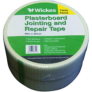 Wickes Fibreglass Plasterboard Repair & Jointing Tape - 90m Pack of 2