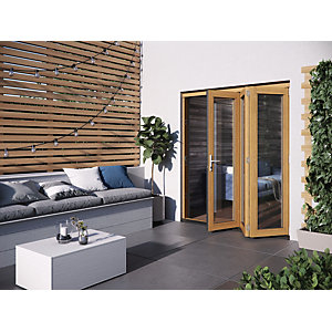 Jeld-Wen Kinsley Finished Solid Hardwood Patio Bifold Door Set Golden Oak - 2094 x 1794 mm