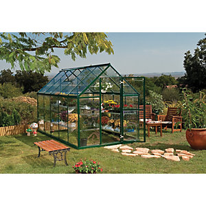 Palram 6 x 10 ft Harmony Large Green Aluminium Apex Greenhouse with Polycarbonate Panels