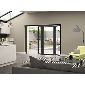 Jci Aluminium Bi-fold Door Set Grey Left Opening 2090 x 2990mm