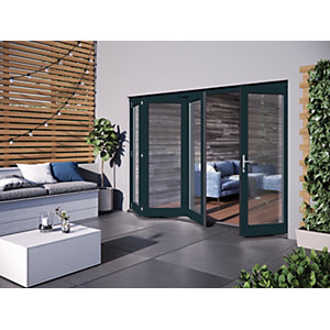 Jeld-Wen Bedgbury Finished Solid Hardwood Patio Bifold Door Set Grey - 2094 x 2994 mm