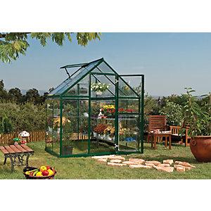 Palram 6 x 4 ft Harmony Green Aluminium Apex Greenhouse with Polycarbonate Panels