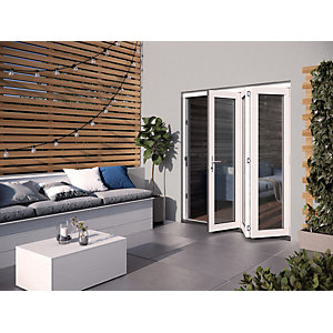 Jeld-Wen Bedgebury Finished Solid Hardwood Patio Bifold Door Set White - 2094 x 1794 mm