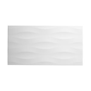 Perouso White Gloss Concrete effect Ceramic Wall tile  (L)600mm (W)300mm  Sample
