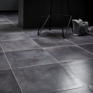 Konkrete Anthracite Matt Concrete effect Porcelain Floor tile  Pack of 10  (L)426mm (W)426mm