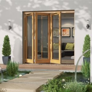 Golden Oak Timber Glazed Folding Patio door  (H)2094mm (W)2094mm